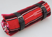 La Raza Roll-up Red Blanket with Floral Black Roll Strap