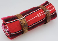 La Raza Roll-up Red Blanket with Floral Tan Roll Strap