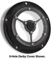 Roland Sands Design Black-ops Clarity Derby Cover, 3-Holes