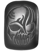 Large Solid Embroidery Vinyl Skull Black Passenger Seat