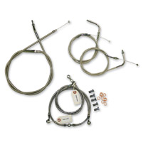 LA Choppers Polished Cable/Brake Line Kit for Beach Bars