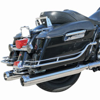 LA Choppers Tru-Power Chrome Slip-On Muffler Set With Black Stealth Tips