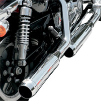 LA Choppers Chrome Slip-On Muffler Set With Chrome Stealth Tips