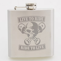 Live To Ride, Ride To Live Skull Stainless Steel Hip Flask