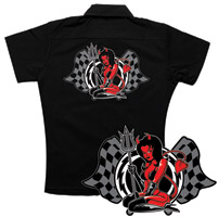 Lethal Threat Hell On Wheels Black Women's Work Shirt