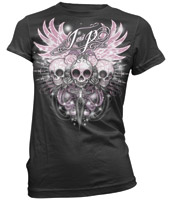 J&P Cycles® Sugar Skull Black Ladies T-shirt