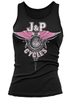 J&P Cycles® Wing Pinstripe Black Tank Top