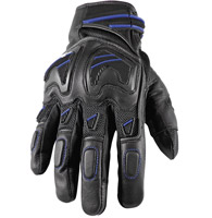 Speed and Strength Moment of Truth SP 2.0 Black Leather/Mesh Gloves with Blue Accents