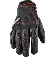 Speed and Strength Moment of Truth 2.0 Leather/Mesh Gloves, Black with Red Trim