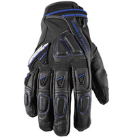 Speed and Strength Moment of Truth 2.0 Leather/Mesh Gloves, Black with Blue Trim