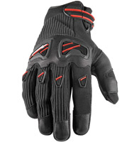 Speed and Strength Off the Chain Leather/Textile Gloves Black with Red Accents