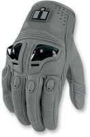 ICON Justice Gray Leather Motorcycle Gloves