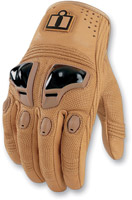 ICON Justice Tan Leather Motocycle Gloves