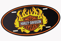 DMS Harley-Davidson Oval Flame Logo Auto License Plate