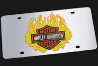DMS Harley-Davidson Mirror Flame Logo Auto License Plate