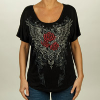Liberty Wear Women's Loose Fit Black Wings with Roses Black T-shirt