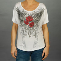 Liberty Wear Women's Wings with Roses White Loose Fit T-shirt