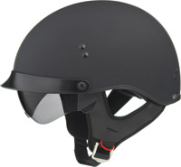GMAX GM55 Full Dress Flat Black Half Helmet with Retractable Sun Shield
