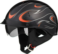 GMAX GM55 Full Dress Black and Orange Half Helmet with Retractable Sun Shield