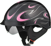 GMAX GM55 Full Dress Black and Pink Half Helmet with Retractable Sun Shield