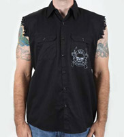 K&N Skull and Bones Sleeveless Black Button Down