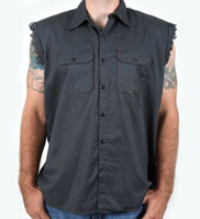 K&N Skull and Bones Sleeveless Charcoal Button Down