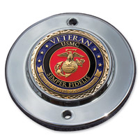 MotorDog69 Chrome 2-hole Coin Mount with Veteran Marine Coin