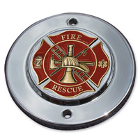 MotorDog69 Chrome 2-hole Coin Mount with Fire Rescue Coin