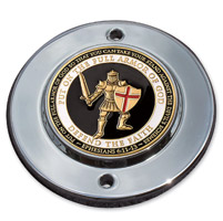 MotorDog69 Chrome 2-hole Timing Cover Coint Mount with Armor of God Coin
