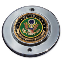 MotorDog69 Chrome 2-hole Coin Mount with Veteran Army Coin