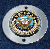 MotorDog69 Chrome 2-hole Coin Mount with Veteran Navy Coin
