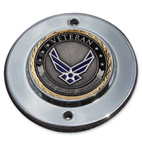 MotorDog69 Chrome 2-hole Coin Mount with Veteran Air Force Coin