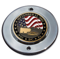 MotorDog69 Chrome 2-hole Coin Mount with September 11 Coin