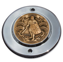 MotorDog69 Chrome 2-hole Coin Mount with Armor of God Brass Coin