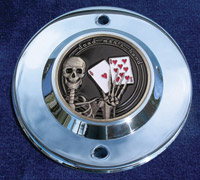 MotorDog69 Chrome 2-hole Timing Cover Coin Mount with Ace's and 8s Coin