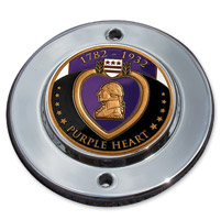 MotorDog69 Chrome 2-hole Coin Mount with Purple Heart Coin
