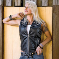 Milwaukee Motorcycle Clothing Co. Women's Desire Black Leather Vest