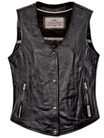 Milwaukee Motorcycle Clothing Co. Women's Darla Black Leather Vest