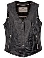 Milwaukee Motorcycle Clothing Co. Women's Darla Black Leather Vest