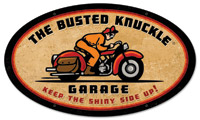 Busted Knuckle Retro-Rider Oval Sign