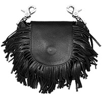 Hot Leathers Classic Black with Fringe Leather Clip Pouch