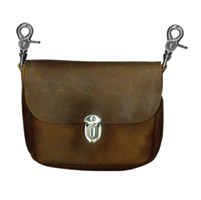Hot Leathers Classic Brown with Fringe Leather Clip Pouch