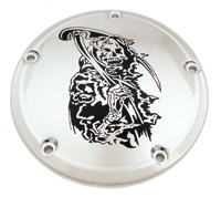 Custom Engraving Ltd. Grim Reaper Derby Cover for Twin Cam