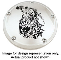 Custom Engraving Ltd. Grim Reaper Derby Cover for Big Twin