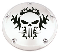 Custom Engraving Ltd. Tribal Skull Derby Cover for Twin Cam