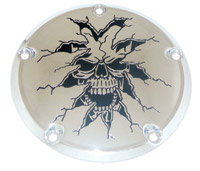 Custom Engraving Ltd. Breaking Thru Skull Derby Cover for Twin Cam