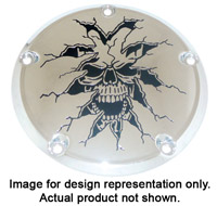 Custom Engraving Ltd. Breaking Thru Skull Derby Cover for Sportster 6 Hole