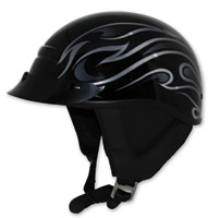 Zox Alto Custom Flame Gloss Black Half Helmet