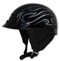 Zox Alto Custom Flame Gloss Black Half Helmet