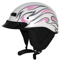 Zox Alto Custom Flame Gloss Pearl White and Pink Half Helmet
